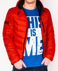 Raudona rudeninė-pavasarinė vyriška striukė internetu pigiau Sorto C371 11209-1
