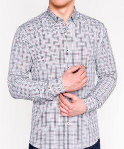 Pilki languoti vyriški marškiniai ilgomis rankovėmis internetu pigiau K447 11381
