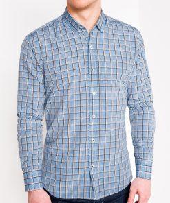 Šviesiai mėlyni languoti vyriški marškiniai ilgomis rankovėmis internetu pigiau K447 11382