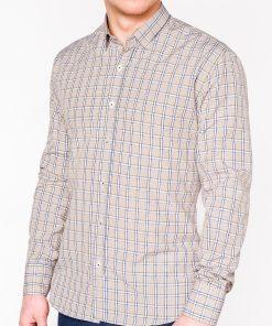 Rusvi languoti vyriški marškiniai ilgomis rankovėmis internetu pigiau K447 11383