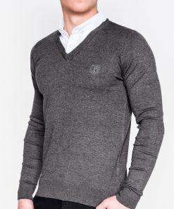 Tamsiai pilkas-melanžinis vyriškas megztinis internetu pigiau E12011578-1
