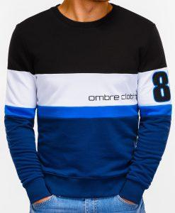 Tamsiai mėlynas vyriškas džemperis su užrašu internetu pigiau 85 B923 12236-4