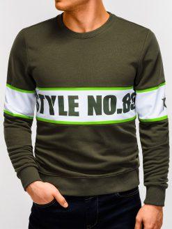 Chaki džemperis vyrams su užrašu internetu pigiau B926 12239-2