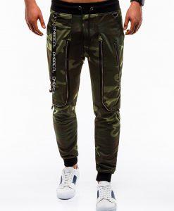 Žalios kamufliažinės sportinės kelnės vyrams internetu pigiau P735 12571-1
