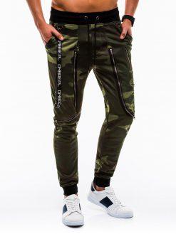 Žalios kamufliažinės vyriškos sportinės kelnės internetu pigiau P735 12571-3