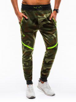 Žalios-kamufliažinės vyriškos sportinės kelnės internetu pigiau P74212590-3