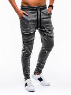Stilingos tamsiai pilkos vyriškos sportinės kelnės internetu pigiau P821 12601-3