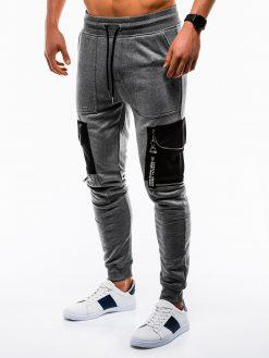 Stilingos tamsiai pilkos sportinės kelnės vyrams internetu pigiau P822 12605-1