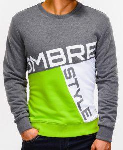 Tamsiai pilkas vyriškas džemperis su užrašu internetu pigiau B927 12761-2
