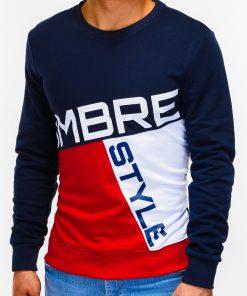 Tamsiai mėlynasvyriškas džemperis su užrašu internetu pigiau B927 12762-3