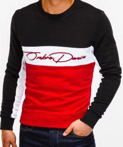 Raudonas vyriškas džemperis su užrašu internetu pigiau B924 12777-1