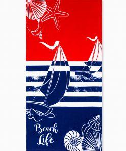 Mėlynas-raudonas paplūdimio rankšluostis internetu pigiau Beach A197 12866-1