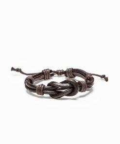 Tamsiai ruda odinė vyriška apyrankė internetu pigiau A208 13087-2