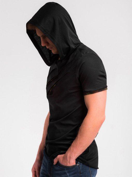 Juodi vyriški marškinėliai su kamufliažiniais įplėšimais ir gobtuvu vyrams internetu pigiau S1019 13183-5