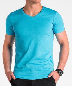 Šviesiai mėlyni vienspalviai vyriški marškinėliai internetu pigiau S1041 13223-5