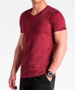 Tamsiai raudoni vienspalviai vyriški marškinėliai internetu pigiau S1041 13224-4