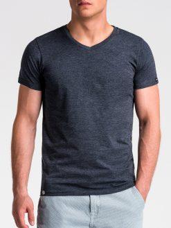 Tamsiai mėlyni vienspalviai vyriški marškinėliai internetu pigiau S1041 13226-3