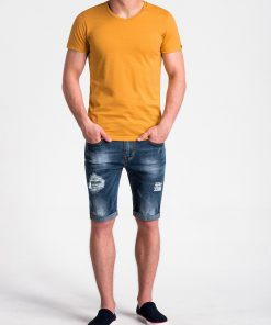 Vienspalviai geltoni vyriski marskineliai vyrams internetu pigiau S1041 13230-3