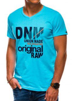 Šviesiai mėlyni vyriški marškinėliai su užrašu akcija internetu pigiau S1042 13231-3