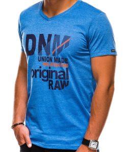 Mėlyni vyriški marškinėliai su užrašu akcija internetu pigiau S1042 13232-2