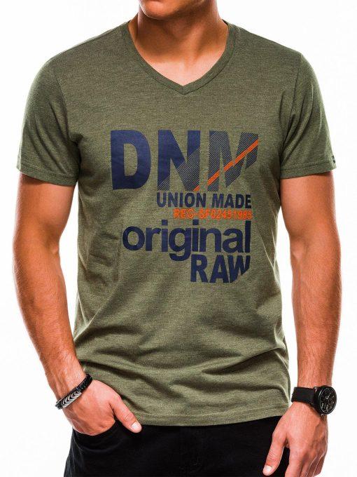 Žali vyriški marškinėliai su užrašu akcija internetu pigiau S1042 13233-3