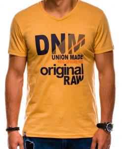 Geltoni vyriški marškinėliai su užrašu akcija S1042 13234-1