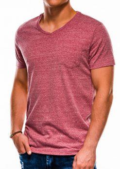 Tamsiai raudoni vienspalviai marškinėliai vyrams internetu pigiau S1045 13235-2