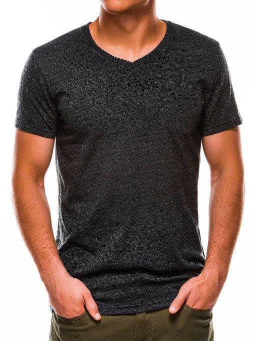 Tamsiai pilki vienspalviai marškinėliai vyrams internetu pigiau S1045 13236-1
