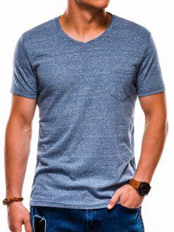 Tamsiai mėlyni vienspalviai marškinėliai vyrams internetu pigiau S1045 13237-2