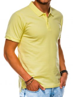 Šviesiai geltoni vyriški polo marškinėliai internetu pigiau S1048 13253-2