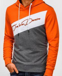 Oranžinis vyriškas džemperis su gobtuvu internetu pigiau B937 13256-4