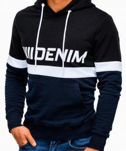 Tamsiai mėlynas vyriškas džemperis su gobtuvu internetu pigiau B931 13267-2