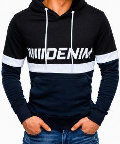Tamsiai mėlynas džemperis vyrams su gobtuvu internetu pigiau B931 13267-4