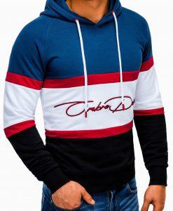 Mėlynas vyriškas džemperis su gobtuvu internetu pigiau B932 13272-2