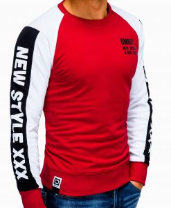 Raudonas vyriškas džemperis su užrašu internetu pigiau B935 13280-2
