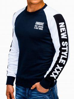 Tamsiai mėlynas vyriškas džemperis su užrašu internetu pigiau B935 13281-4
