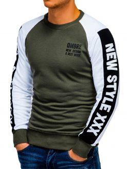 Chaki vyriškas džemperis su užrašu internetu pigiau B935 13282-5