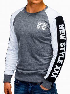Pilkas vyriškas džemperis su užrašu internetu pigiau B935 13283-1