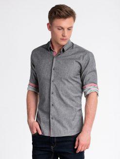Tamsiai pilki marškiniai vyrams internetu pigiau K487 13285-6
