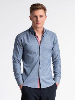 Tamsiai mėlyni marškiniai vyrams internetu pigiau K487 13286-6