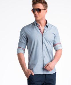 Mėlyni marškiniai vyrams internetu pigiau K487 13287-1