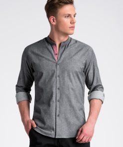 Tamsiai pilki marškiniai vyrams internetu pigiau K488 13290-6