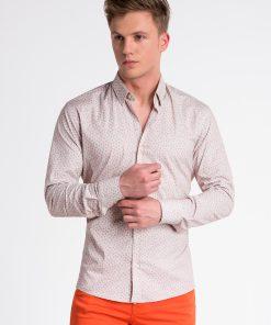 Rusvi-oranžiniai languoti marškiniai vyrams internetu pigiau K495 13294-1
