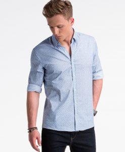 Balti-mėlyni languoti marškiniai vyrams internetu pigiau K495 13295-1