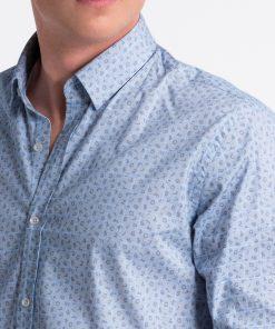 Balti-mėlyni languoti vyriški marškiniai internetu pigiau K495 13295-3