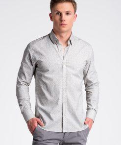 Balti-geltoni languoti marškiniai vyrams internetu pigiau K495 13296-1