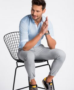 Šviesiai mėlyni marškiniai vyrams internetu K496 13298-4
