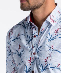 Balti gėlėti vyriški marškiniai internetu K498 13301-2