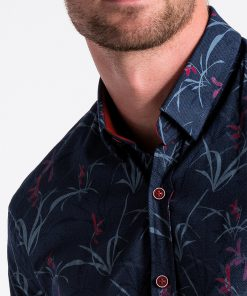 Tamsiai mėlyni gėlėti vyriški marškiniai internetu K498 13302-1