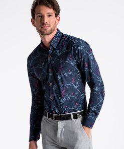 Tamsiai mėlyni gėlėti marškiniai vyrams internetu K498 13302-5